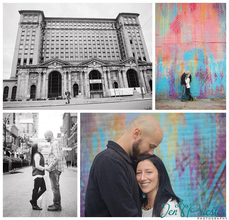 Metro Detroit Michigan downtown engagement session